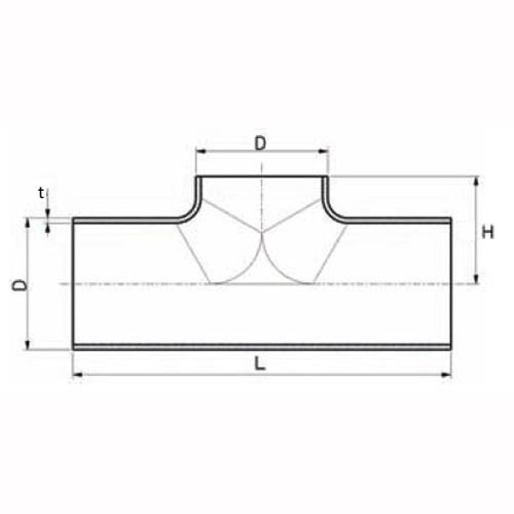 T-rör pressat ISO, AISI 316